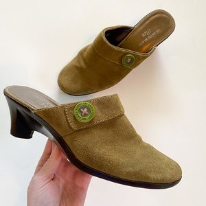 Anne Klein iflex Green Suede Shoes with Buttons